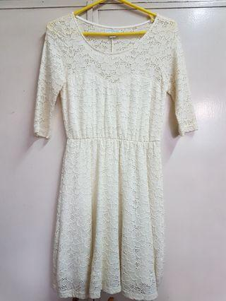 Cotton On Dirty White Lacey Dress with Sleeves