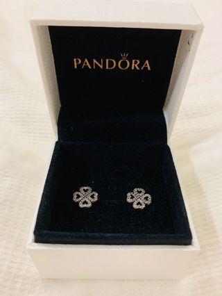 Pandora Heart Clover Earrings