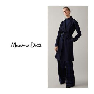 MASSIMO DUTTI Navy Knit Coat With Belt