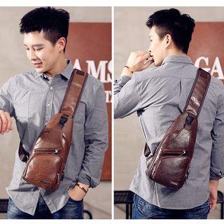 Men Casual PU Leather Crossbody Bag