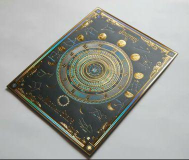 現貨 日本制白夜飛行箔押燙金月讀時計全黑特色便條卡紙心意卡紙