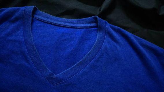 🚚 V領素T (藍)