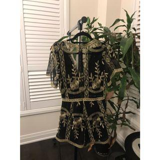 Embroided Mesh Romper