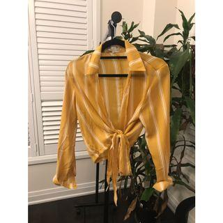 Stripped yellow blouse cover