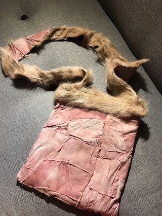 Artisanal felt & fur reversible sling