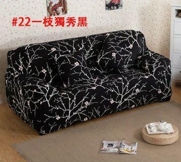 🚚 高彈力沙發套一枝獨秀黑底古典粉花萬能四季通用全包布套雙人沙發罩