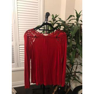 Red long sleeve shirt with lace shoulders