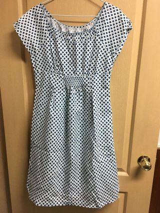 👩♻️[二手]古著 媽媽的衣櫃 白底菱形方格洋裝
