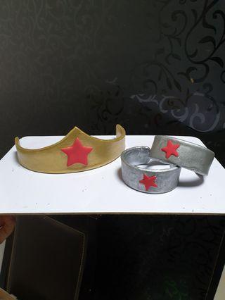 Customise cake topper wonder women crown & bangles - air dry clay