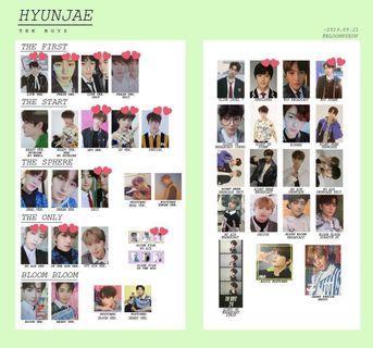 THE BOYZ HYUNJAE PHOTOCARDS 2017~2019