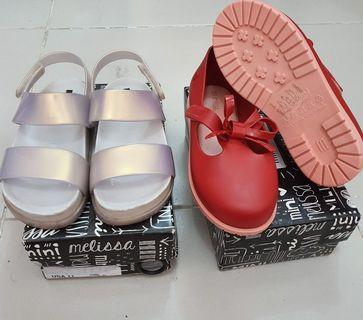 Mini Melissa Cosmic Sandals euc s11 and BRAND NEW Classic Bordeaux s12