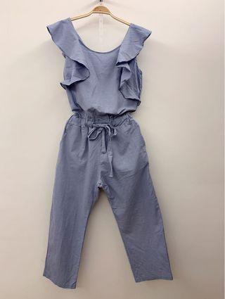 🚚 <正韓> 藍色棉麻材質荷葉邊顯瘦連身褲