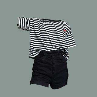 Cropped Striped heart T-shirt