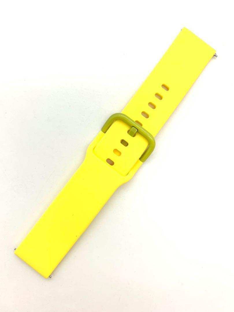 20mm Yellow Silicon Rubber Watch Strap Watchband with Quick Release Spring Bars Pins for Samsung Smart Watch Garmin Forerunner 645