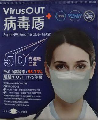 病毒盾 VirusOUT 高效能先進口罩(2入)