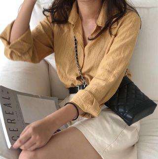 🚚 Ulzzang Yellow/ Mustard Embroidered Long Sleeve Top/Blouse