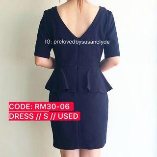 [SALE - FURTHER PRICE REDUCED] Dark Blue Peplum Dress