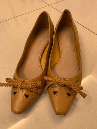 Charles and Keith pointed heels in mustard