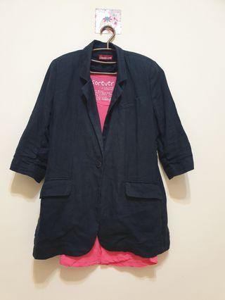 奇威keywear 藍色麻料外套