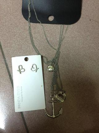 #RayaPhone 【New】Necklace + Love Earring one set Clear stock only one