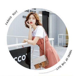 夏季韓版法色寬鬆顯瘦連身背帶短褲