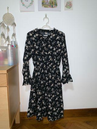 Korean Vintage Black Floral Dress