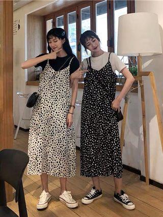 🌸春夏款韓版豹紋氣質連身裙 黑色/白色 修飾身材 氣質款女裝必備休閒吊帶裙舒適氣質甜美遮肉姐妹裝三木