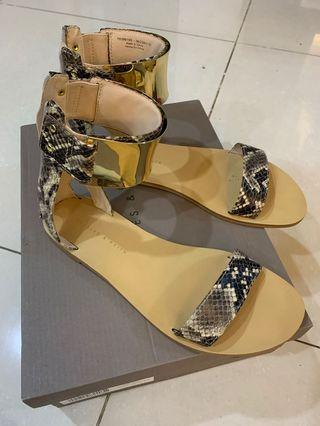 🚚 Charles and Keith faux snake skin sandals/flats with gold ankle strap