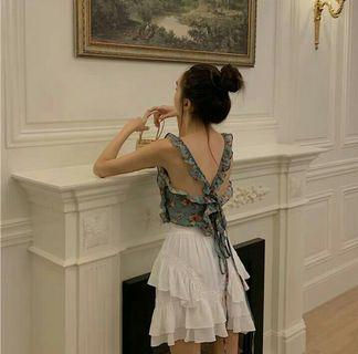 (PO) 2 Items - Floral and Frill Summer Top / Skirt