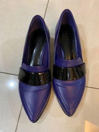 Charles and Keith blue pointed loafers with 2 inch heel