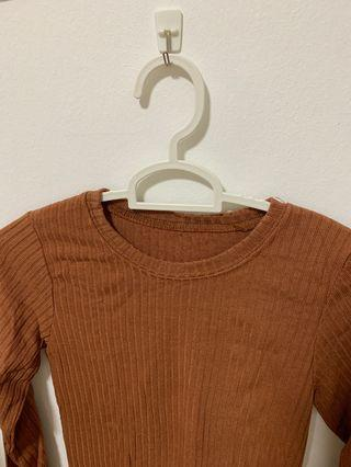Brown Ribbed Long Sleeve Top