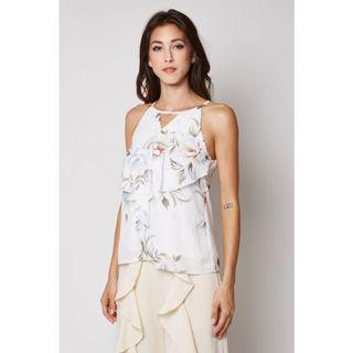 MDS Claud Top Floral Print White