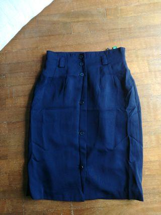 Navy blue Midi Button Skirt #KLSENTRAL