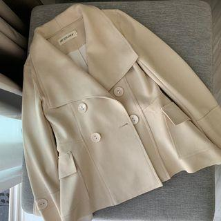 Beige Trench Coat Jacket in Suede-like material