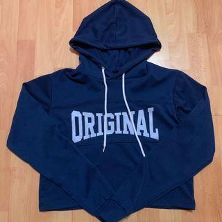 blue original crop hoodie