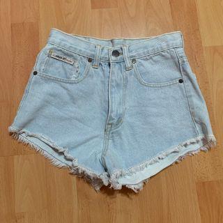 frayed light denim shorts