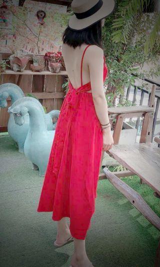 仙氣後綁帶蝴蝶結長裙 紅裙連身裙