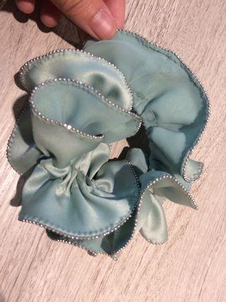 薄荷綠歐式小珠珠髮圈