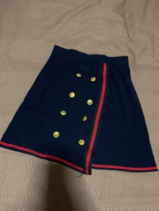 Dark Blue with Gold Buttom A-line Skirt