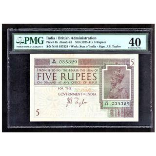 British Administration India 1925 Banknote 5 Rupees PMG 40