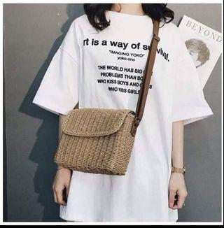 Summer women rattan sling bag