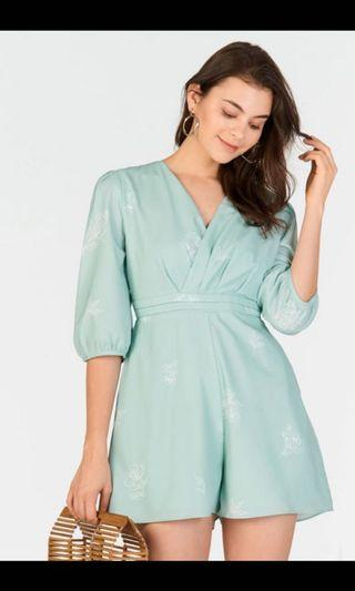Theclosetlover Gracelyn Printed Romper Mint