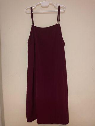 Maroon Hook & Eye Pinafore Dress