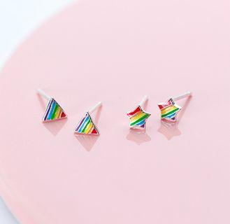 🚚 純銀耳環 彩虹星星耳環    兩款可選   一對價