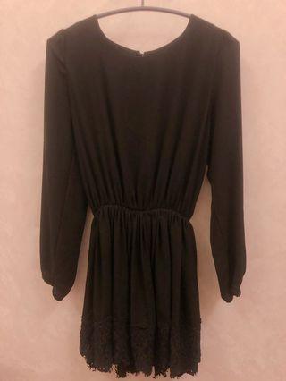 🚚 正韓 軟雪紡蕾絲黑洋裝