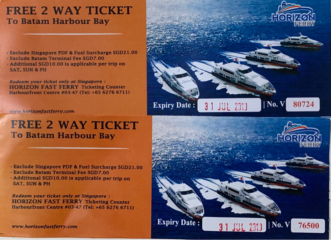 2 Way Ferry tickets to Batam Harbour Bay