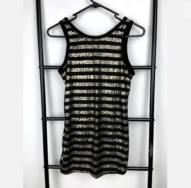 Black brown leopard XS/S metallic women bodycon short dress tunic top sexy club