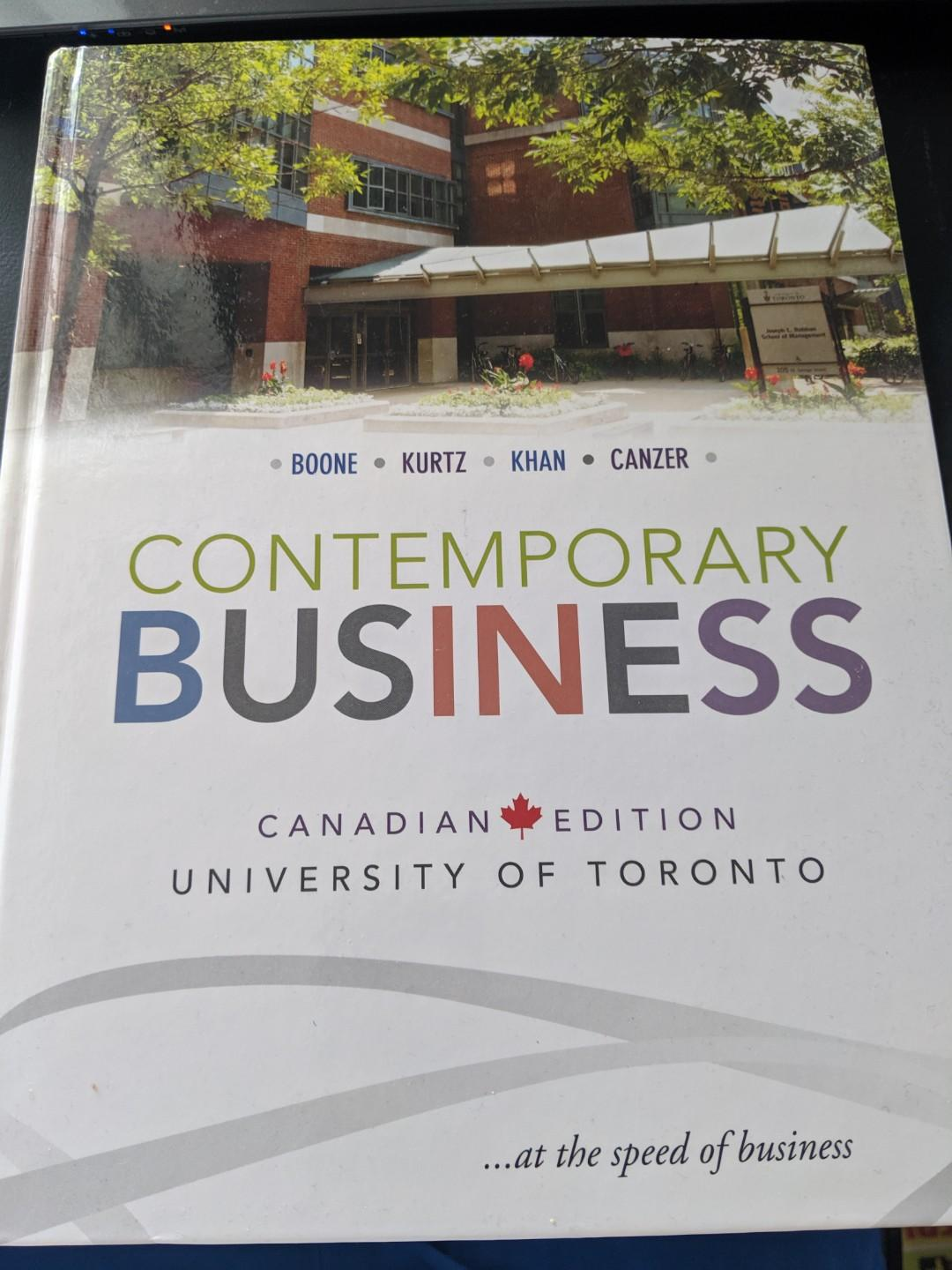 Contemporary Business Canadian Edition. Boone,Kurtz,Khan and Canzer
