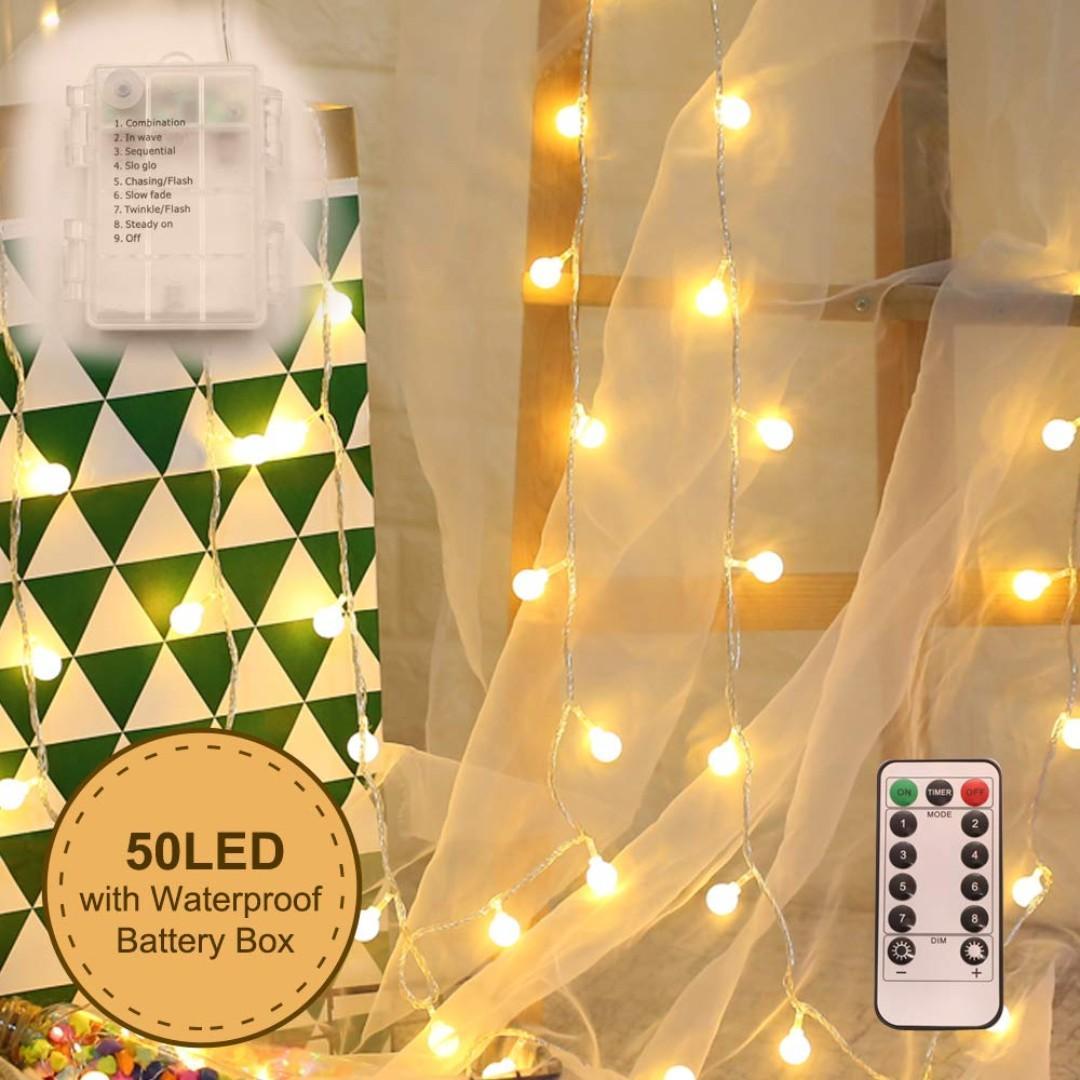 buy online 41f91 033e6 Globe Ball String Lights, WED 50 LED Warm White Fairy Light ...