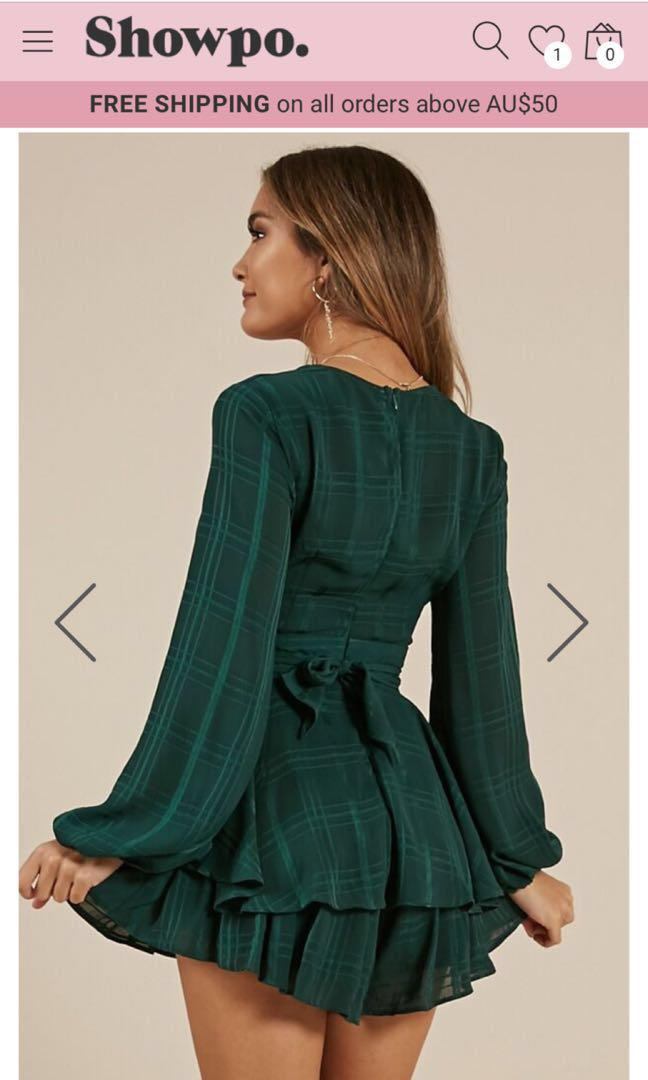 Green long sleeve playsuit